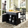 Butcher Block Top Kitchen Island with House Stools - Black - CROS-KF300062BK