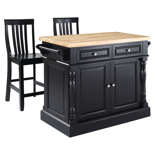 Butcher Block Top Kitchen Island With House Stools Black Dcg Stores