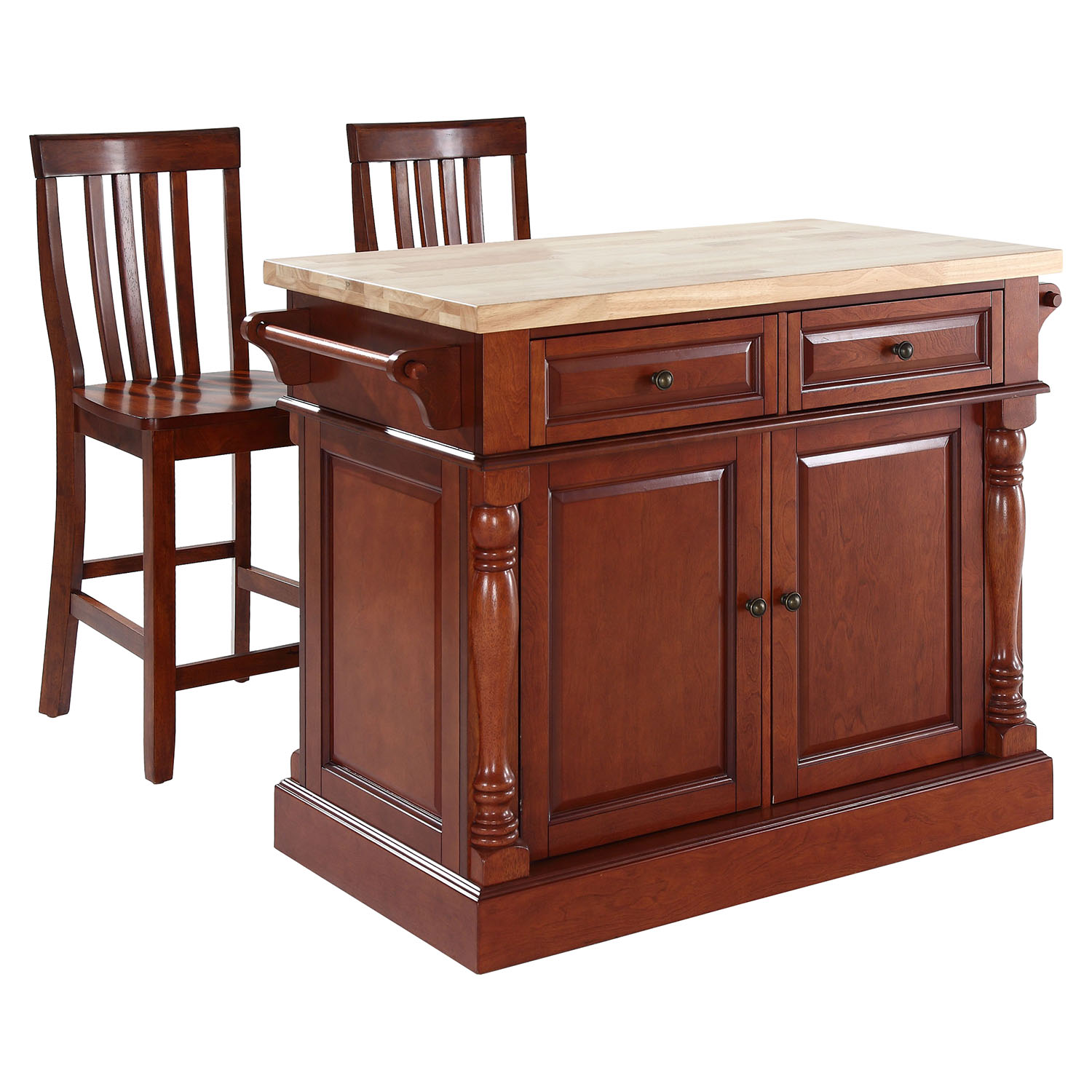 Butcher Block Top Kitchen Island with House Stools - Cherry - CROS-KF300062CH