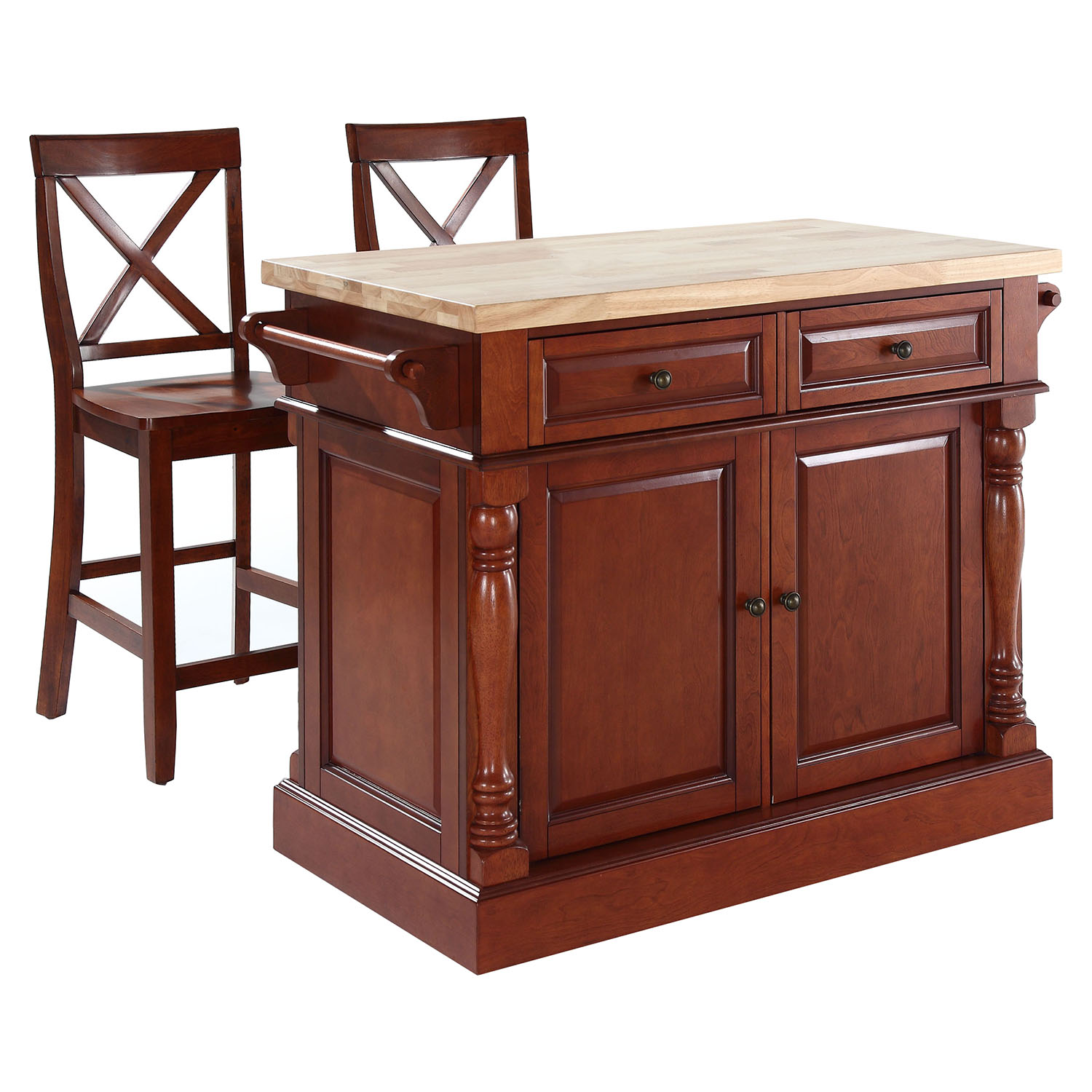 Butcher Block Top Kitchen Island with X-Back Stools - Cherry - CROS-KF300063CH