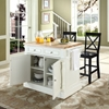 Butcher Block Top Kitchen Island with Black X-Back Stools - White - CROS-KF300063WH
