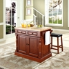 Butcher Block Top Kitchen Island and Saddle Stools - Cherry - CROS-KF300064CH