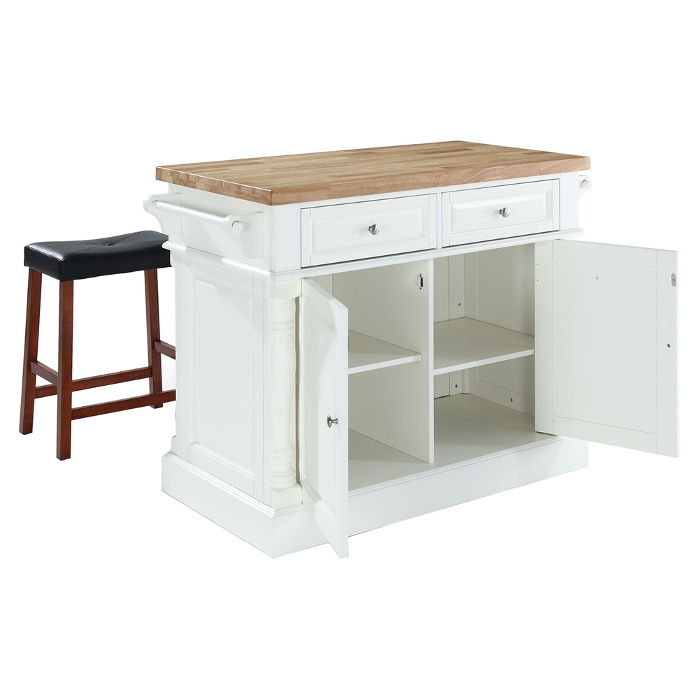 Butcher block top kitchen island and saddle stools white for Best kitchen stools