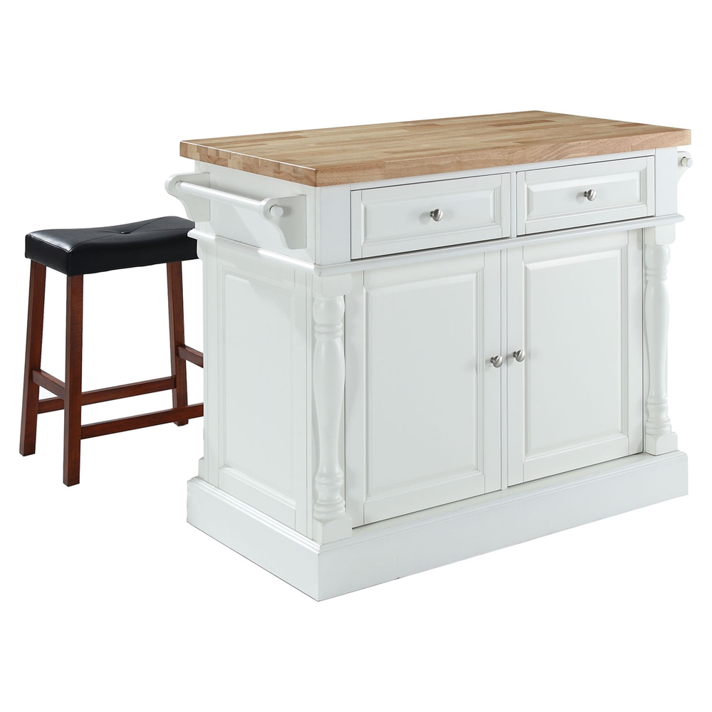 Butcher Block Top Kitchen Island And Saddle Stools