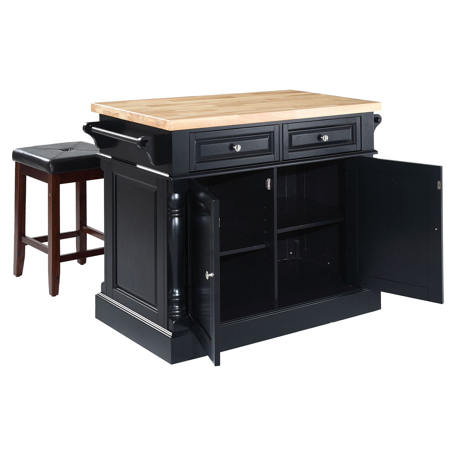 Block Top Kitchen Island with Square Seat Stools  Black  DCG Stores