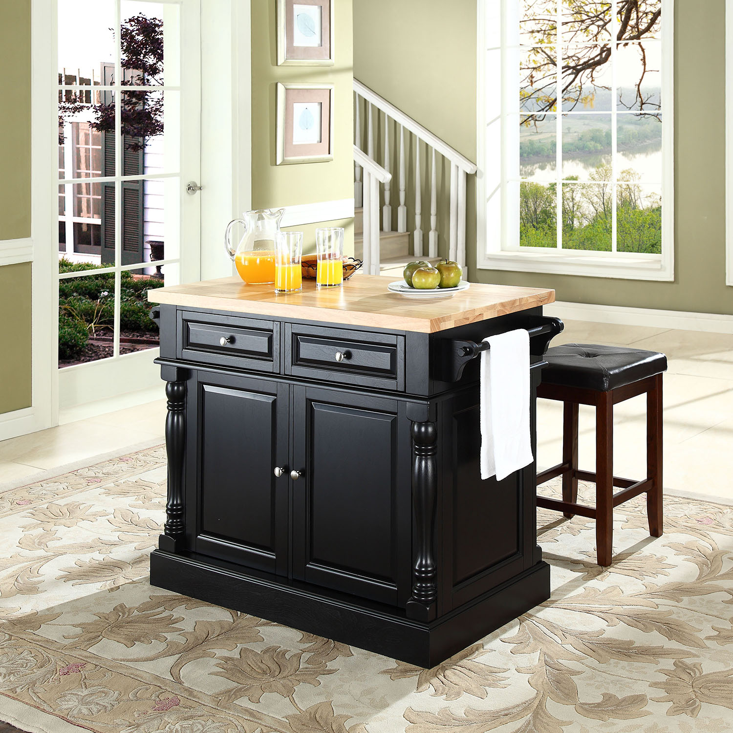 Butcher Block Top Kitchen Island With Square Seat Stools