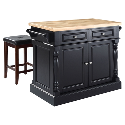 Butcher Block Top Kitchen Island With Square Seat Stools Black Dcg Stores