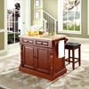 Butcher Block Top Kitchen Island with Square Seat Stools - Cherry - CROS-KF300065CH