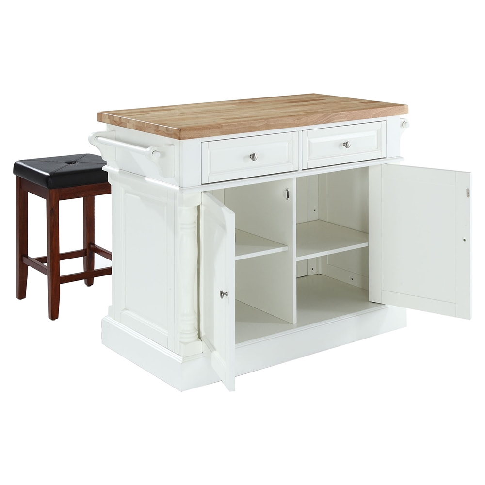 Butcher block top kitchen island with square seat stools for Best kitchen stools