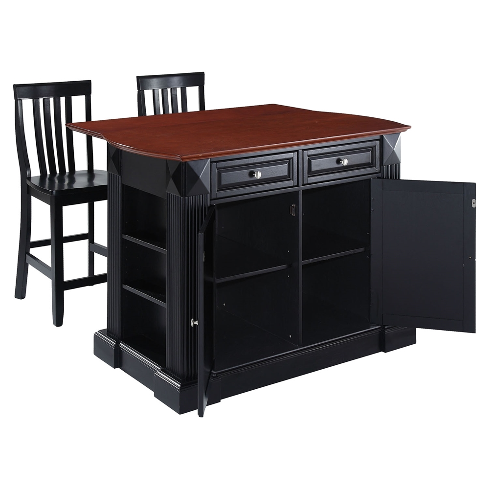 Drop Leaf Kitchen Island In Black With 24 Black School House Stools Dcg Stores