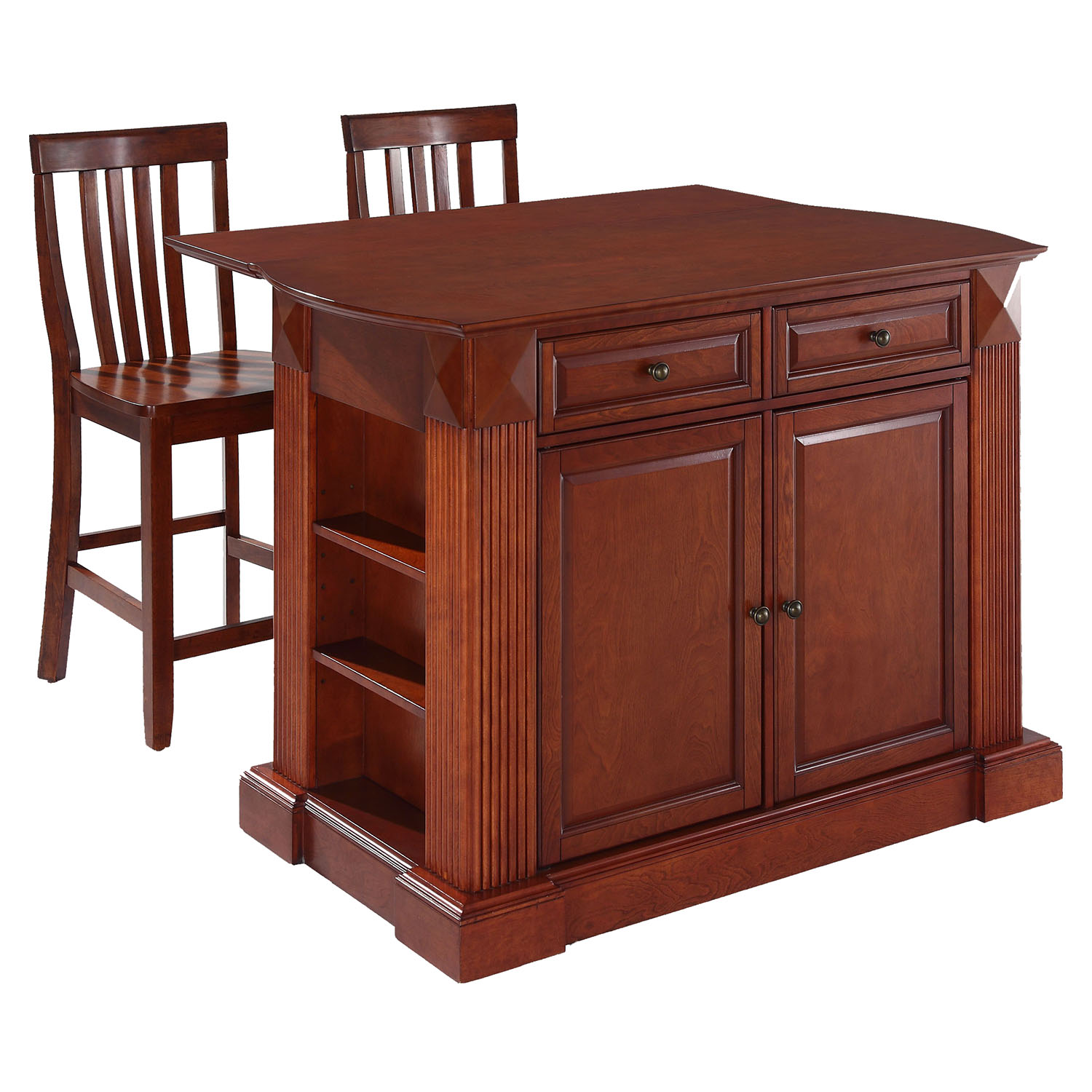 Drop Leaf Kitchen Island In Cherry With 24 Cherry School House Stools Dcg Stores