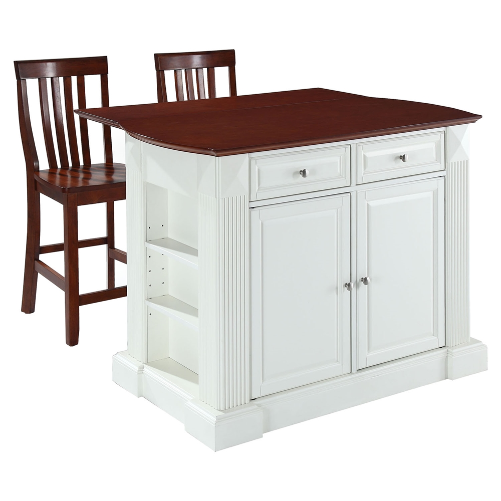 Drop Leaf Kitchen Island In White With 24 Cherry School House Stools Dcg Stores