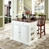 "Drop Leaf Kitchen Island in White with 24"" Cherry School House Stools - CROS-KF300072WH"