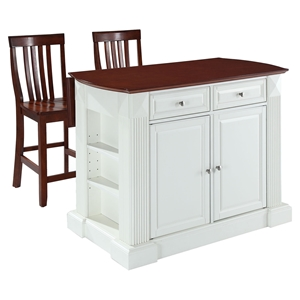 "Drop Leaf Kitchen Island in White with 24"" Cherry School House Stools"
