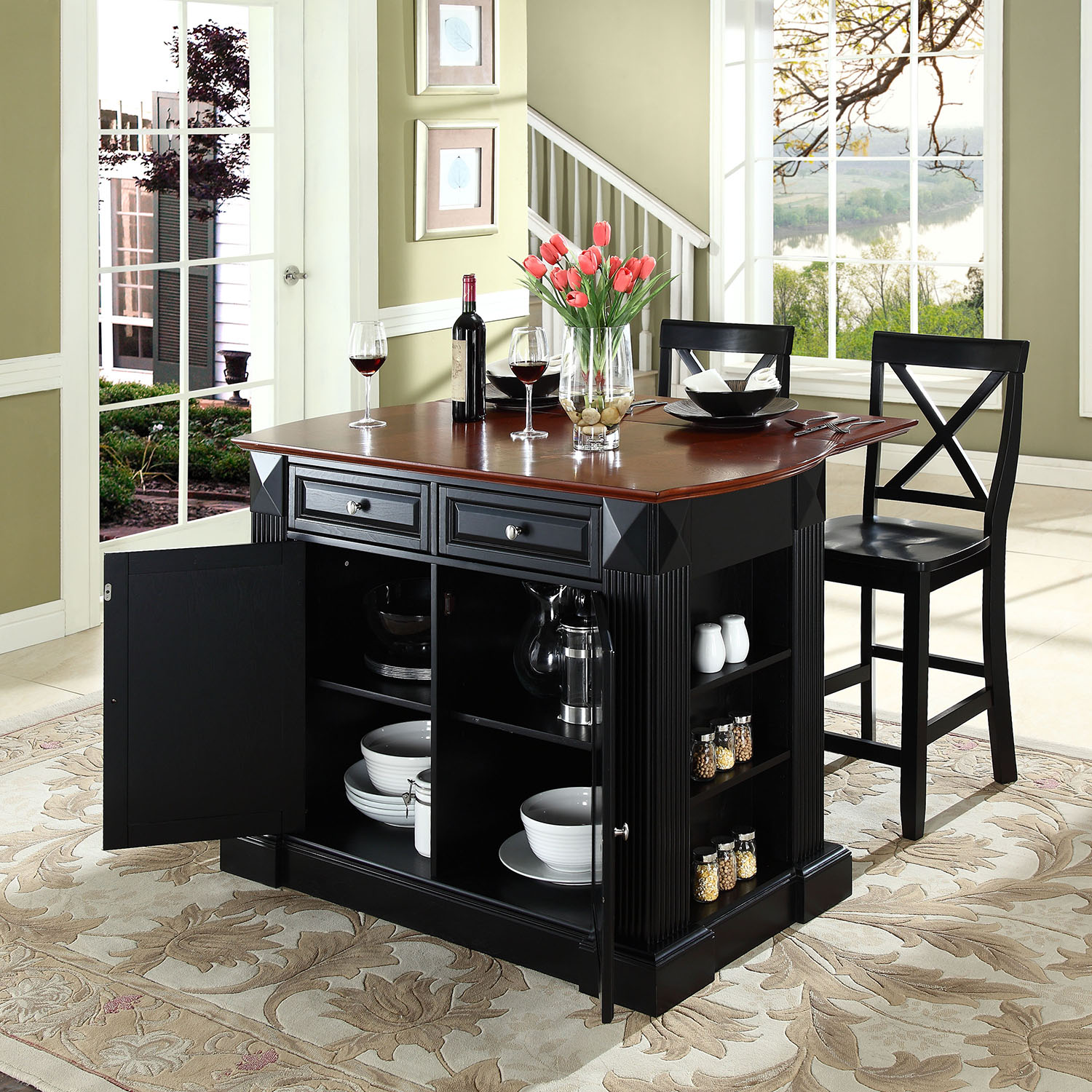 "Drop Leaf Kitchen Island in Black Finish with 24"" Black X-Back Stools - CROS-KF300073BK"