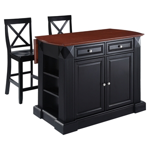 "Drop Leaf Kitchen Island in Black Finish with 24"" Black X-Back Stools"