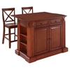 "Drop Leaf Kitchen Island in Cherry with 24"" Cherry X-Back Stools - CROS-KF300073CH"