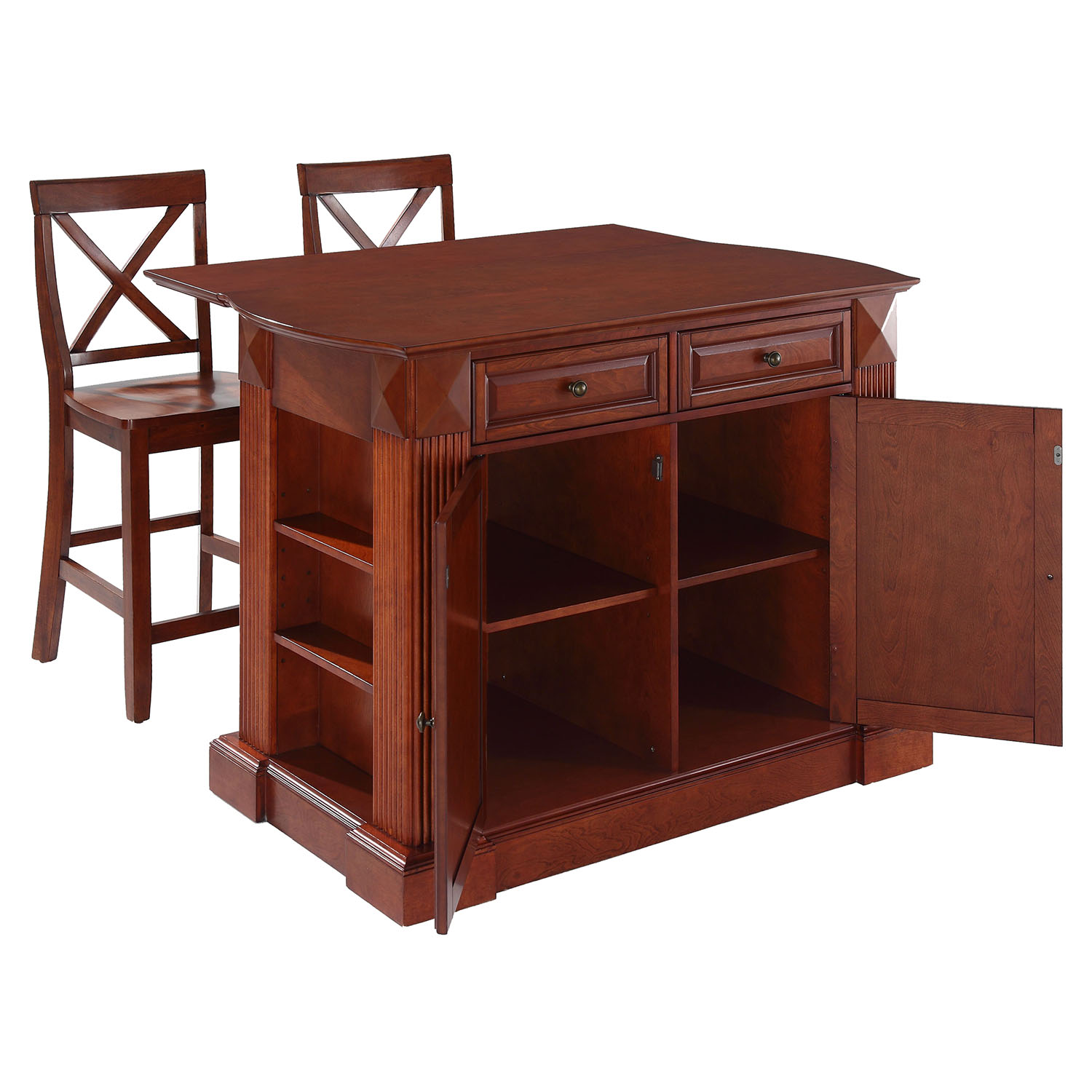 Drop Leaf Kitchen Island In Cherry With 24 Cherry X Back
