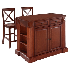 "Drop Leaf Kitchen Island in Cherry with 24"" Cherry X-Back Stools"