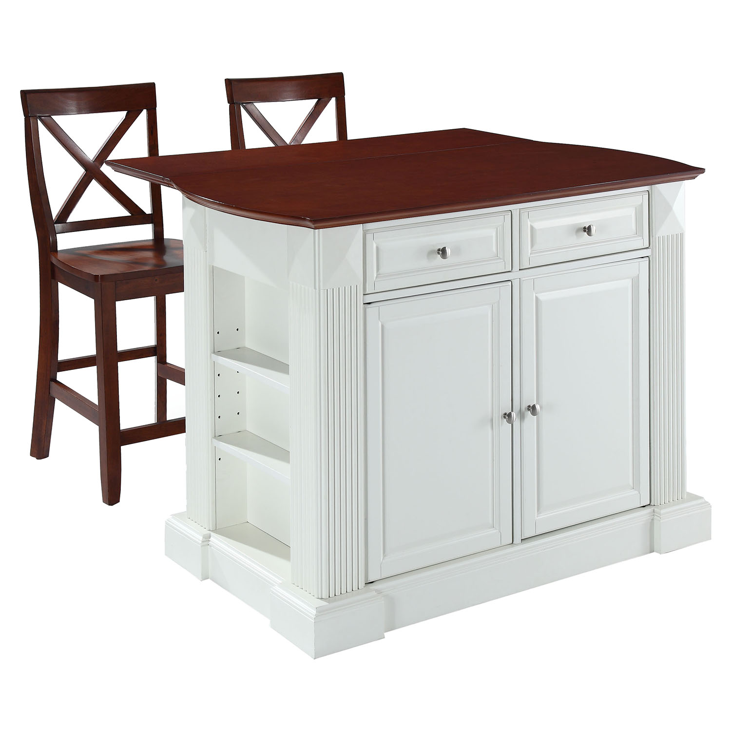 "Drop Leaf Kitchen Island in White with 24"" Cherry X-Back Stools - CROS-KF300073WH"