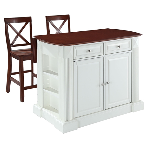 Drop Leaf Kitchen Island In White With 24 Cherry X Back Stools Dcg Stores
