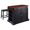 "Drop Leaf Breakfast Bar Top Kitchen Island in Black with 24"" Black Stools - CROS-KF300074BK"