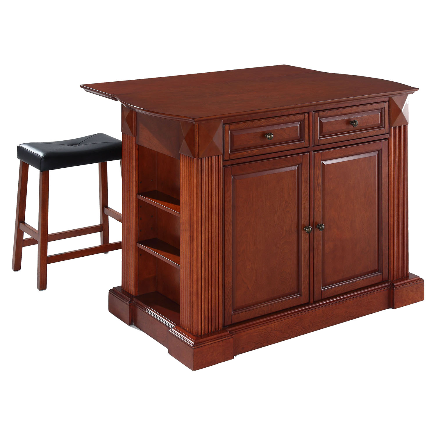 "Drop Leaf Breakfast Bar Top Kitchen Island in Cherry with 24"" Cherry Stools - CROS-KF300074CH"