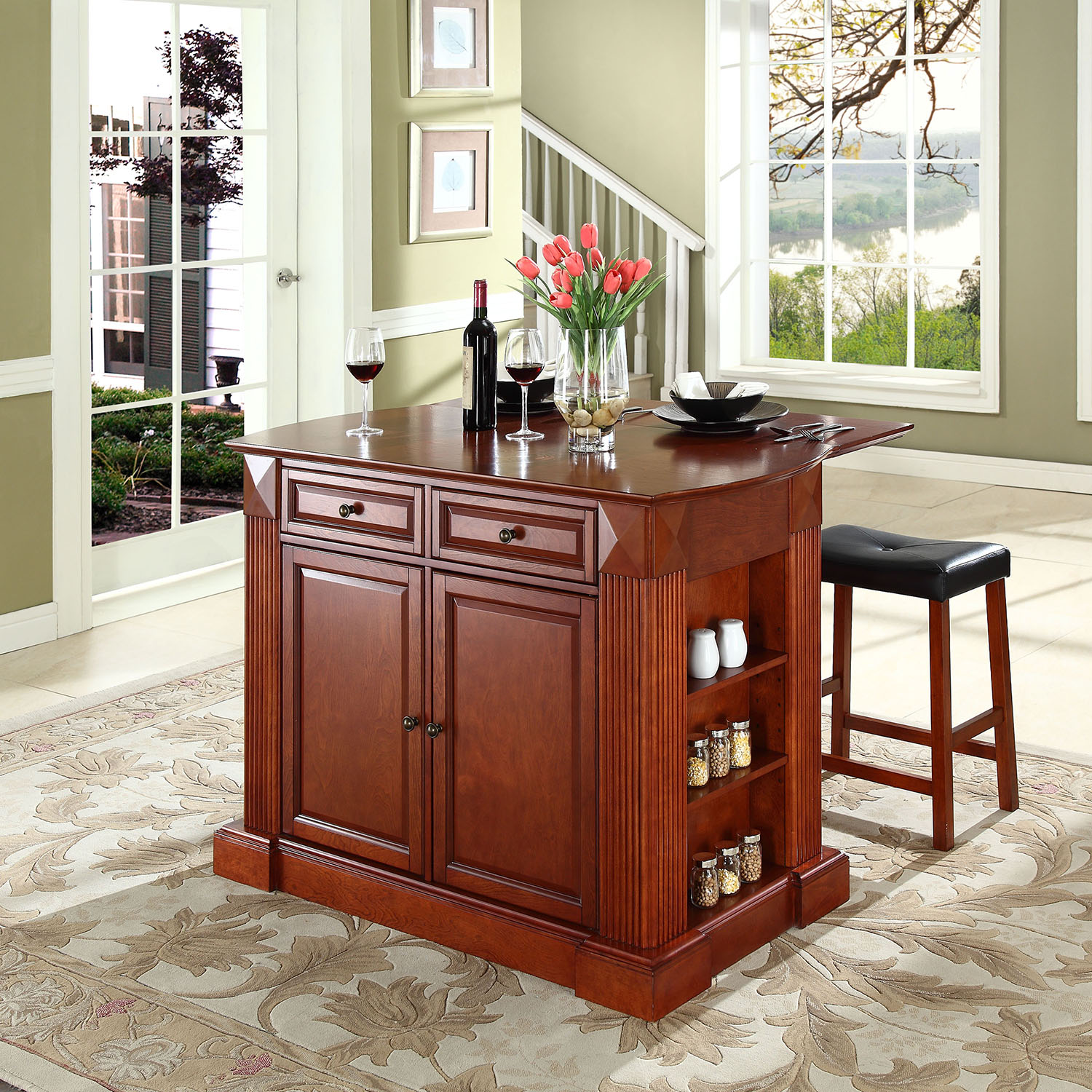 Drop Leaf Breakfast Bar Top Kitchen Island In Cherry With
