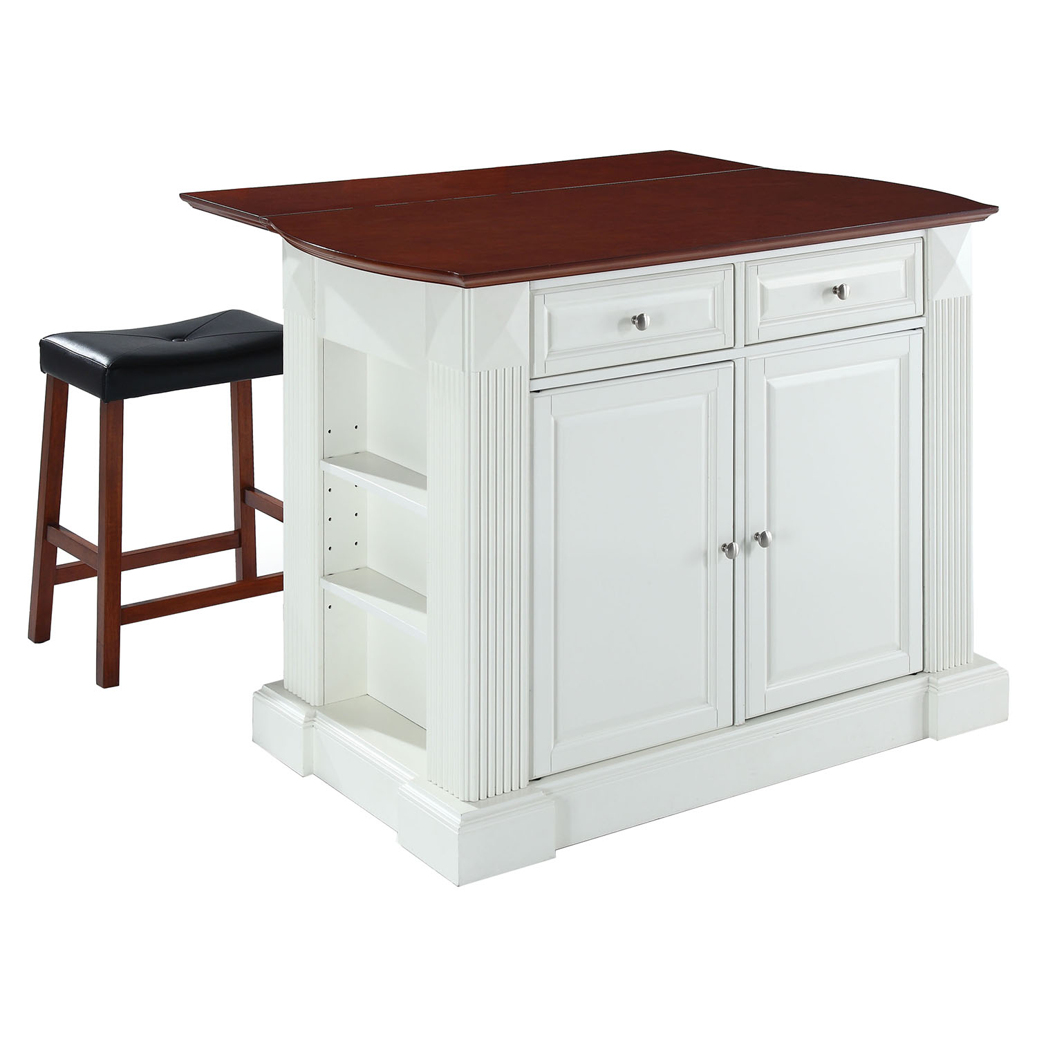 Drop Leaf Breakfast Bar Top Kitchen Island In Classic: Drop Leaf Breakfast Bar Top Kitchen Island In White With