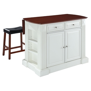 "Drop Leaf Breakfast Bar Top Kitchen Island in White with 24"" Cherry Stools"