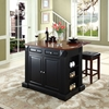 "Drop Leaf Kitchen Island in Black with 24"" Black Square Seat Stools - CROS-KF300075BK"