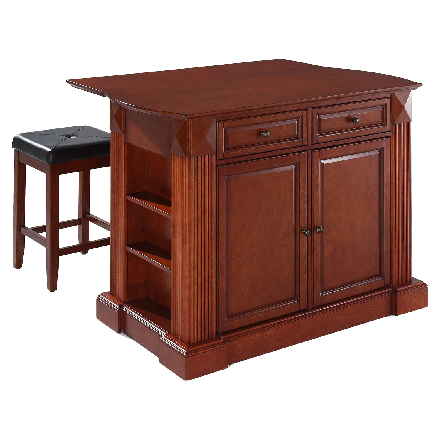 "Drop Leaf Kitchen Island in Cherry with 24"" Cherry Square Seat Stools - CROS-KF300075CH"