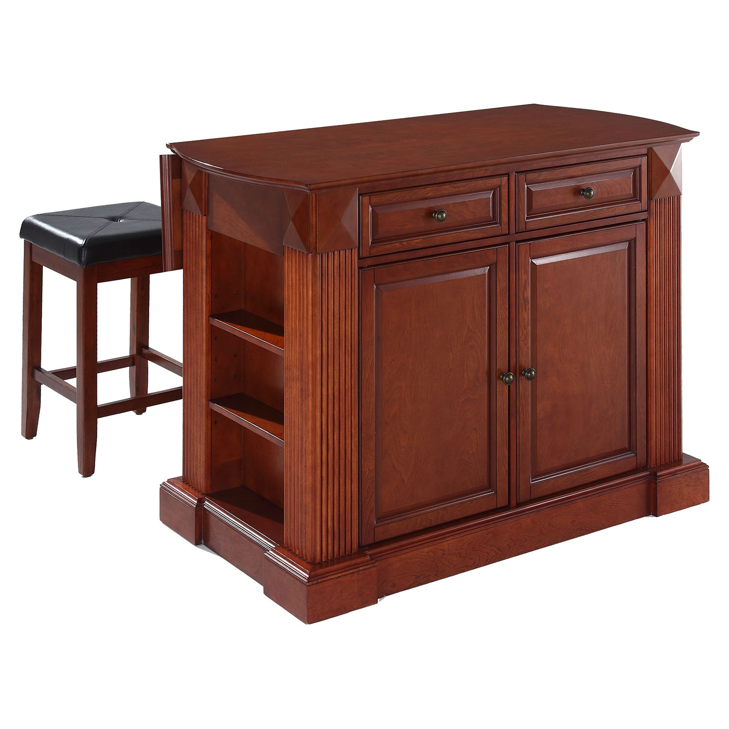 drop leaf kitchen island in cherry with 24 cherry square seat stools dcg stores. Black Bedroom Furniture Sets. Home Design Ideas