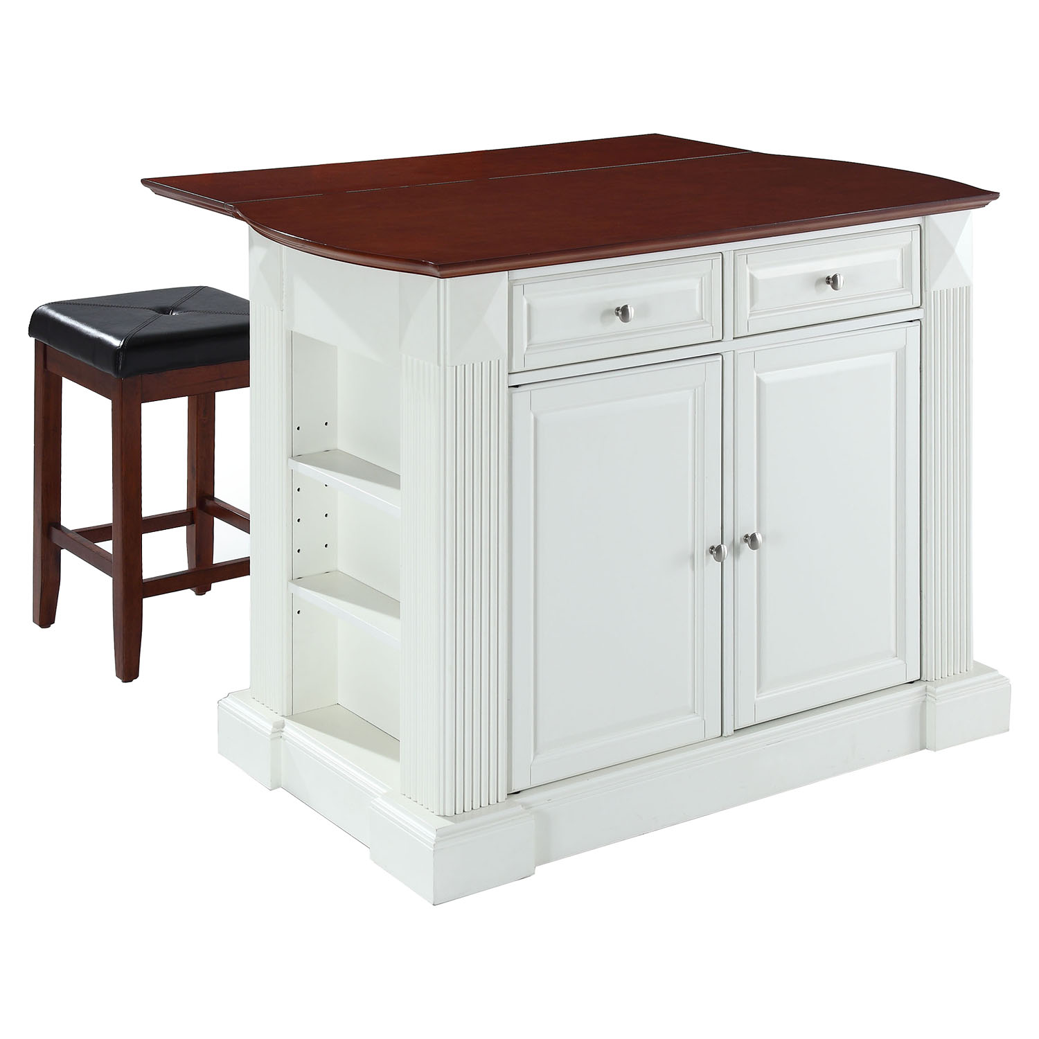 Drop Leaf Kitchen Island In White With 24 Cherry Square Seat Stools Dcg Stores