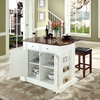 "Drop Leaf Kitchen Island in White with 24"" Cherry Square Seat Stools - CROS-KF300075WH"