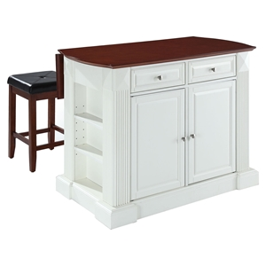 "Drop Leaf Kitchen Island in White with 24"" Cherry Square Seat Stools"