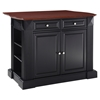 Drop Leaf Breakfast Bar Top Kitchen Island - Black - CROS-KF30007BK