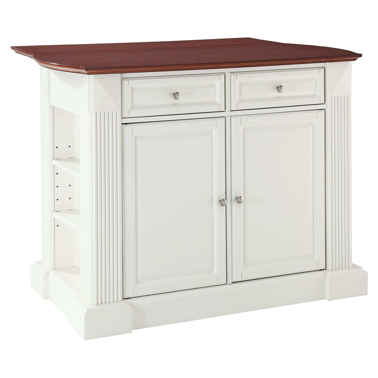 Home Styles Monarch White Kitchen Island With Drop Leaf White Drop Leaf Kitchen Island Diy