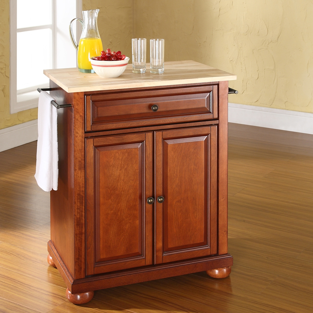 Portable Kitchen Islands With Seating: Alexandria Natural Wood Top Portable Kitchen Island