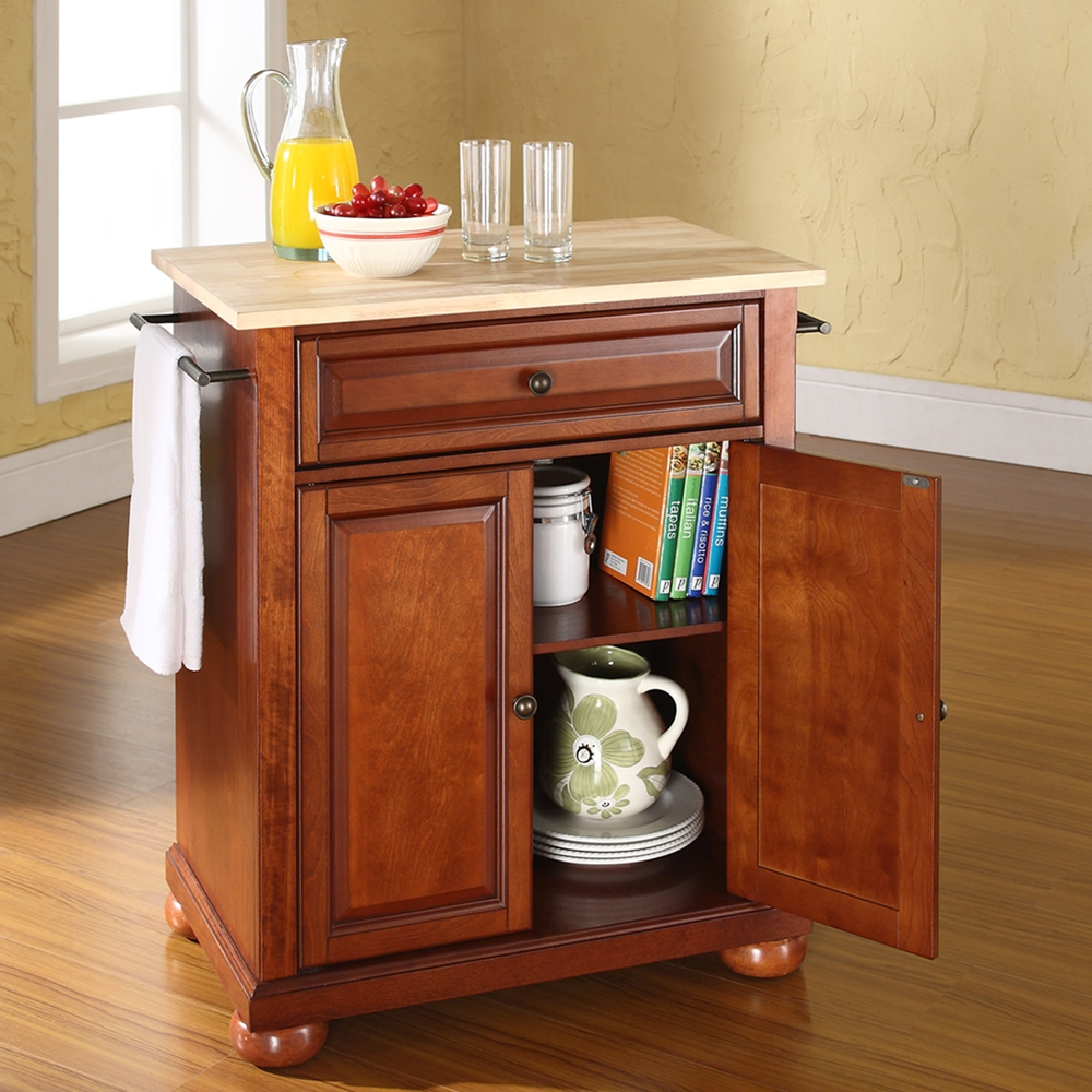 Portable Kitchen Island Style: Alexandria Natural Wood Top Portable Kitchen Island