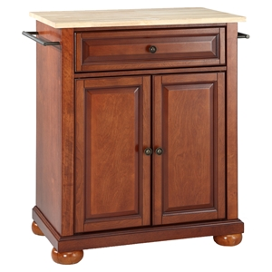 Alexandria Natural Wood Top Portable Kitchen Island - Classic Cherry