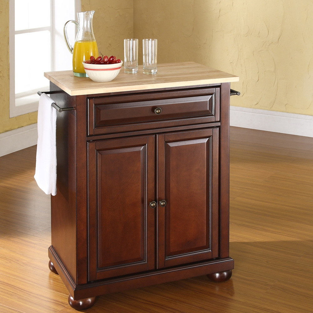 Crosley Furniture Alexandria Wood Top Kitchen Island In: Alexandria Natural Wood Top Portable Kitchen Island