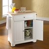 Alexandria Natural Wood Top Portable Kitchen Island - White - CROS-KF30021AWH