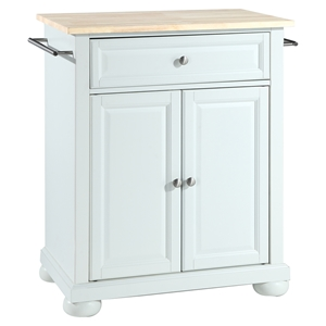 Alexandria Natural Wood Top Portable Kitchen Island - White