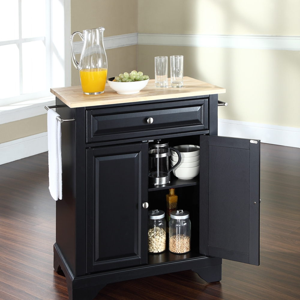 Furniture Beautiful Pine Wood Movable Kitchen Island With: Natural Wood Top, Portable