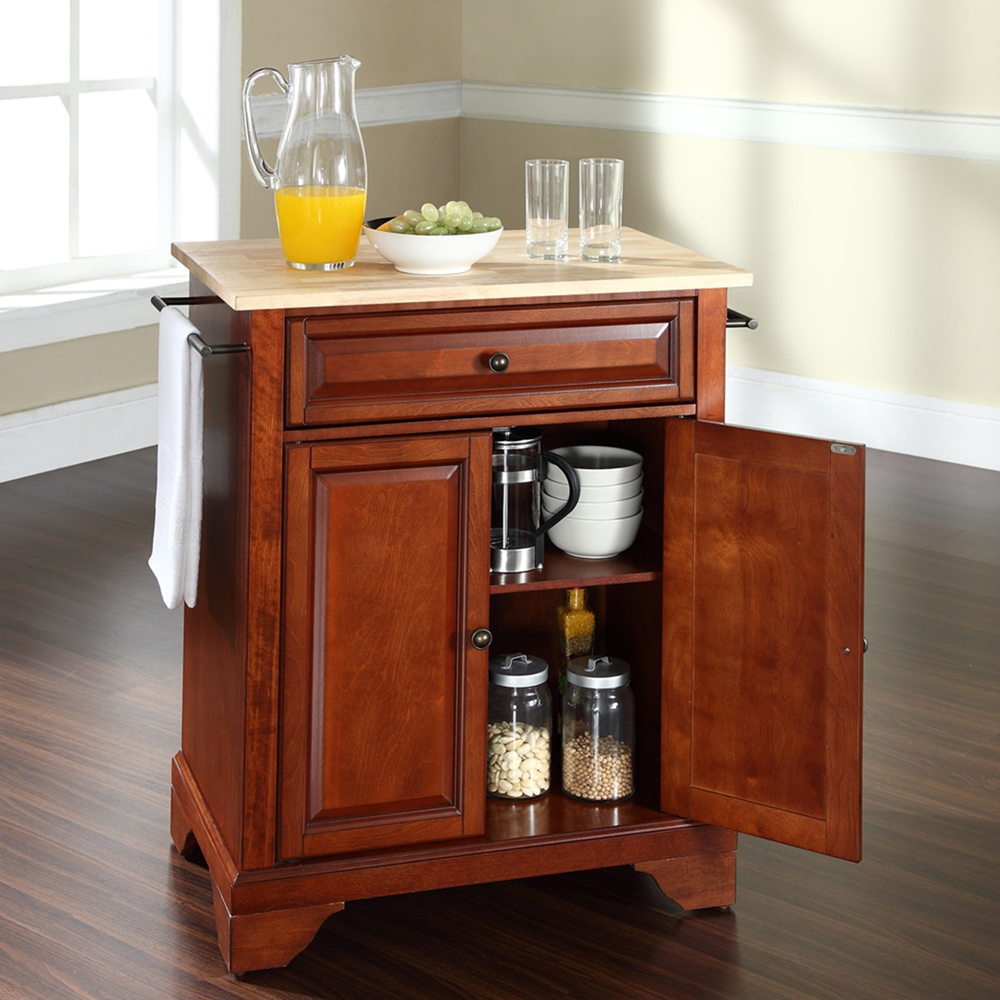 Lafayette Kitchen Island Natural Wood Top Portable