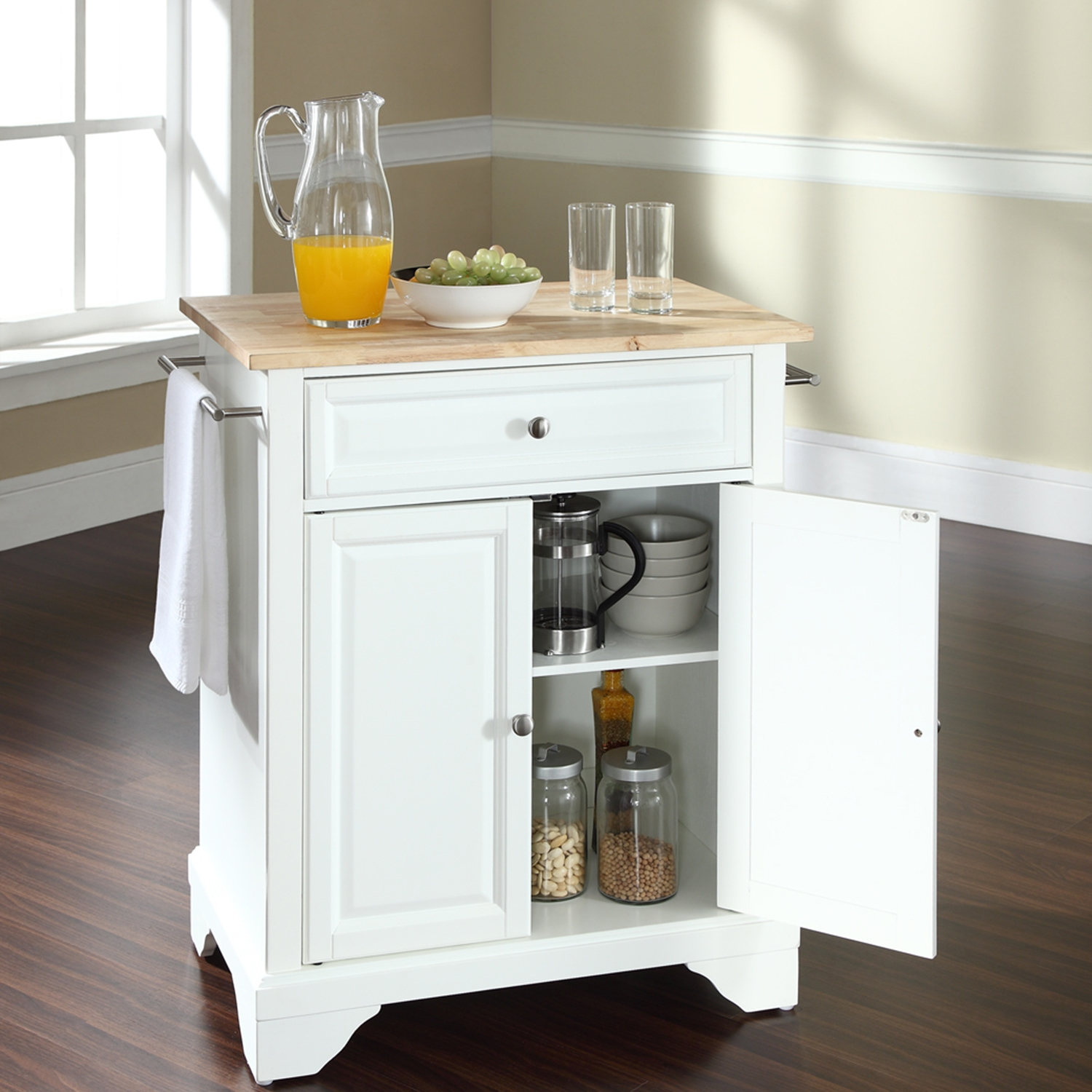 LaFayette Kitchen Island - Natural Wood Top, Portable, White - CROS-KF30021BWH