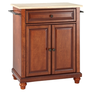 Cambridge Kitchen Island - Portable, Natural Wood Top, Classic Cherry
