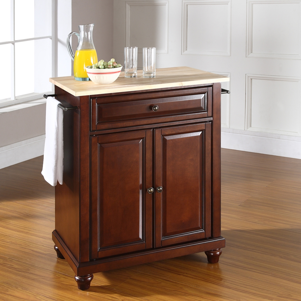 Furniture Beautiful Pine Wood Movable Kitchen Island With: Portable, Natural Wood Top