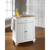 Cambridge Kitchen Island - Portable, Natural Wood Top, White - CROS-KF30021DWH